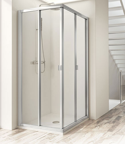 Mamparas Para Baño A Medida:Mamparas de bañera o ducha con hojas plegables de pliegue interior o