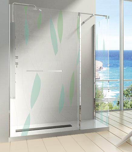 Mamparas Para Baño A Medida:Mamparas para ducha con una o varias hojas fijas Vidrio de 6 ó 8mm